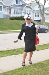 Yes, I Am Consciously Trying To Attract Attention (Laurette Victoria) Tags: pumps sidewalk suit purse hat sunglasses silver laurette woman easter