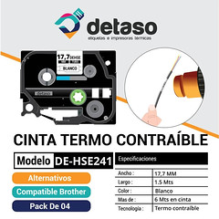 Pack 4 Cinta Hse241 17,7mm tubo termocontraible (Detaso) Tags: chile brother cinta etiqueta rotuladora termocontraible cable tubo hse241 1777mm