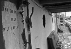 R/V Arctic Discoverer #6 (PositiveAboutNegatives) Tags: leica slr leicaflex leitz leicaflexsl 35mm 35mmelmarit leicar film analog bw blackandwhitefilm foma fomapan fomapan100 rodinal collscan rvarcticexplorer abdoned derelict rvarcticdiscoverer
