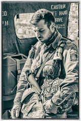 Deep in Thought. (Adrian Walker.) Tags: elements crich 1940s reenactments bw wwii canon80d tamron 18270 usarmy