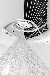 Art Stairs (Karen_Chappell) Tags: art bw black white stairs steps staircase blackandwhite museum gallery abstract chicago travel usa illinois architecture geometry geometric curves curve lines interior oval railing fisheye canonef815mmf4lfisheyeusm wideangle