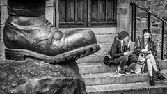 Giving them the boot. (James-Burke) Tags: dogs statues northumberland candid uk street northeast fuji streetphotography candidphotography durham boots blackwhite