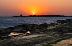 Tylön, Halmstad (karinwigroth) Tags: sea hav tylön halmstad solnedgång sunset orange sky himmel klippor evening kväll natur vatten water nature
