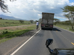 P1050734 (larry.ba) Tags: kenya roads truck bush highway hills mountains bicycle cyclist