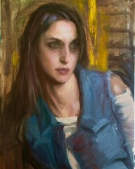 Moody portrait from life on a rainy day.... (Dorian Vallejo) Tags: art fine drawing figure mixed media drawings oil painting dorian vallejo
