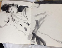 The pleasures of sleeping in late on a snowy Sunday morning.... (Dorian Vallejo) Tags: art fine drawing figure mixed media drawings oil painting dorian vallejo
