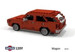 Datsun 120Y Wagon (B210 - 1973) (lego911) Tags: datsun 120y sunny b210 wagon estate 1973 1970s classic jdm japanese japan auto car moc model miniland lego lego911 ldd render cad povray afol