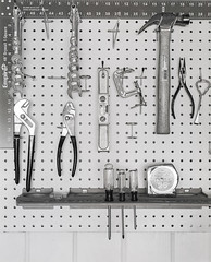 Pegboard and Tools (the_ward) Tags: largeformat blackandwhite bw closeup film kodak