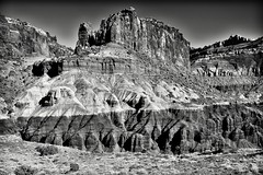 Towering Peaks While Walking the Chimney Rock Loop (Black & White, Capitol Reef National Park) (thor_mark ) Tags: azimuth98 blackwhite blueskies capitolreefnationalpark capturenx2edited centralutahplateaus chimneyrockloop chimneyrocktrail colorefexpro coloradoplateau day2 desertlandscape desertmountainlandscape desertplantlife desertwildflowers fishlakeplateau highdesert intermountainwest landscape layersofrock lookingeast monocline nature nikond800e outside portfolio project365 silverefexpro2 sunny trees utahhighdesert utahnationalparks2017 waterpocketfold waynewonderland ut unitedstates