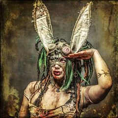 Private Bunny (madmtbmax) Tags: portrait fantasy darkart wastelandwarrior cultureofchrome creative creativemind framed apocalyptic madmax cosplay larp liveactionroleplay comics comiccon surrealistic photoshopped nikon d850 studio lightning flash portraiture scary fun mask masked assecoires