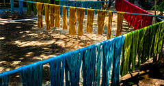 Drying the silk (Goran Bangkok) Tags: silk thailand surin culture colors blue red green yellow sunlight fabric cloth clothing tradition happyplanet asiafavorites