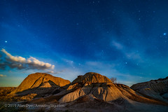Moonrise Light at Dinosaur Park - North (Amazing Sky Photography) Tags: 15mm alberta badlands cassiopeia circumpolar dinosaur flex laowa luminar moonrise polaris provincialpark sony bronzehour demo moonstrike stars