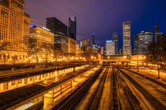 Golden Tracks in the Blue Hour (tquist24) Tags: chicago hdr illinois nikon nikond5300 outdoor bluehour city downtown geotagged longexposure morning outside railroad sky skyscraper skyscrapers tracks trainstation traintracks urban