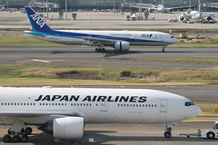 JA009D ANA and JA708A Japan Airlines B777-200s (JaffaPix +5 million views-thanks...) Tags: ja009d ana allnippon ja708a japanairlines jal boeing 777 b777 b772 b777200 jaffapix davejefferys tokyoairport japan aircraft airplane aeroplane aviation flying flight runway airline airliner hnd haneda tokyohaneda hanedaairport rjtt planespotting