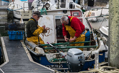 Rémy et Alex rentrent de la pêche (claude dequidt) Tags: groix pêche tramail araignées