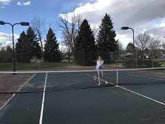 """""""Playing"""" tennis with my kids tonight (f l a m i n g o) Tags: play tennis happy kids explore"""
