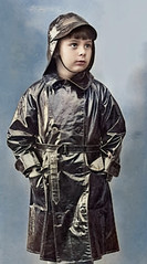 Black rubber raincoat (theirhistory) Tags: boy child kid coat hat souwester raincoat mackintosh