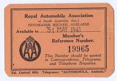 RAA member's card 1940-1941 (Runabout63) Tags: raa southaustralia royal automobile association