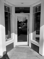 Oldhand Coffee (clearbrook4) Tags: coffee cafe coffeeshop door oldhand window monochrome abbotsford