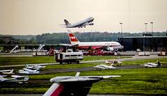 BA Liftoff and TWA (Bill in DC) Tags: airports airplanes airlines 1989 film 35mm kodacolor canoneos650 washingtondc dullesinternationalairport iad b741 boeing ba britishairways twa transworldairways b747 b767 smp1