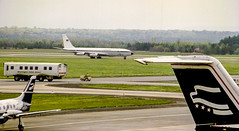 President and Luftwaffe (Bill in DC) Tags: airports airplanes airlines 1989 film 35mm kodacolor canoneos650 washingtondc dullesinternationalairport iad luftwaffe b707 xv presidentialairways bae146 smp1