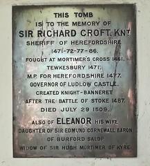 Plaque (daveandlyn1) Tags: plaque tomb knight 1471 sirrichardcroft ladyeleanorcroft croftcastle smartphone psdigitalcamera brassplaque inremembrance inlovingmemory over500yearsago