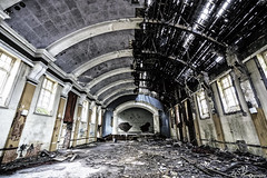 The Ballroom (Gavmonster) Tags: gswphotography nikon d7500 nikond7500 hospital abandoned derelict closed old dirt remnant disused urban decay urbex urbanexploring building grime mold rubble ballroom chandelier ceiling collapsed stage