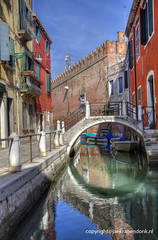 Circle (Jan Kranendonk) Tags: venice venetian italy italian europe european buildings city town architecture travel water canal bridge street alley narrow small little houses homes railing hdr venezia sunny corner historical red quiet old arsenal wall castle fortification crenalation