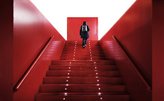 (cherco) Tags: woman solitario solitary silhouette silueta red rojo subir perspectiva perspective vanishingpoint composition composicion canon city ciudad chica canoneos5diii colour color calle architecture alone arquitectura loner lonely light luz lines lineas stairs street