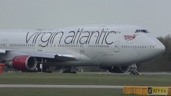 Virgin Atlantic 747 departing from Manchester Airport (MT Productions) Tags: virgin atlantic boeing 747 747400 planes plane airplane airliner airlines aircraft passenger heavy widebody wings jet engine power manchester ringway international airport england united kingdom departure taking off runway