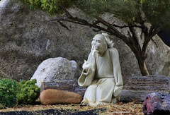 The Wise One (The Photo Bard) Tags: clay ceramic figure figurine 2 in inch inches table top still life minature tree sage brush wise one bush stone stones grass foam rubber model railroad rock rocks dirt black umbrella light lights chinese china man toa budda confusious post processing lime posed arranged