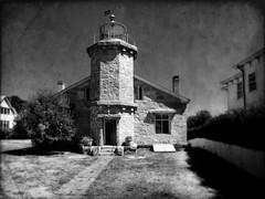Stonington Light (kinglear55) Tags: stonington stoningtonlight panasonic lx7 blackandwhite monochrome lighthouse texture art photography