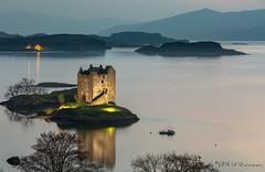 Appin Twilight (Pureo) Tags: appinbay castlestalker canon coast clouds mountains night twilight dusk scotland
