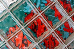 Glass Blocks (Karen_Chappell) Tags: refraction green red glass blocks block building abstract tilt geometry geometric squares architecture mun memorialuniversity interior angle canonef24105mmf4lisusm colourful colours colour color colors