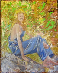 Miss Love (kevin63) Tags: lightner painting portrait photograph 20s 20thcentury 1920s actress bessey love longhair biboveralls woods outdoors impressionistic oil paintings woman silentera silent old vintage antique california mountain pretty