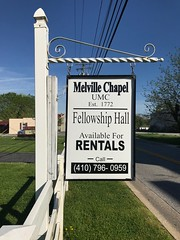 Sign, Melville Chapel United Methodist Church (1885), 5660 Furnace Avenue, Elkridge, MD 21075 (Baltimore Heritage) Tags: church elkridge furnaceavenue howardcounty maryland methodist religiousbuilding sign unitedmethodist