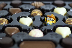 Life is like a box of chocolates, you never know what you're going to get. (Skyline:)) Tags: minions chocolate food odd strange random adage flickrfriday white eyes