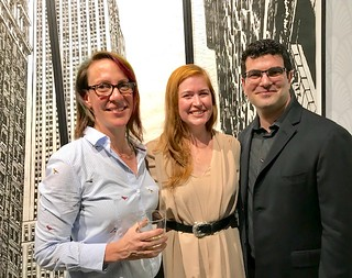 Artist Jennifer Basile with LnS Gallery owners Luisa and Sergio Cernuda at the opening of Jennifers show there