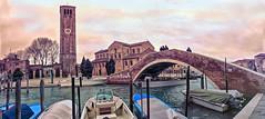 Sous les ponts de Murano passent les bateaux... (Xtian du Gard) Tags: xtiandugard murano venise italie pont bridge texture panorama landscape waterscape goldenhour