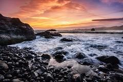 Sunset on Marshals Beach - San Francisco (josht712) Tags: light photography landscape marshals beach wave crisp water rock bridge gate golden francisco san california ocean sunset