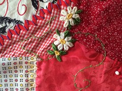 Crazy Quilt Block - Red (Pictures by Ann) Tags: crazyquilt block quiltblock red embellishments embroidery sewing sew quilt quilting