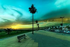 Pasión en el cielo (frankalf37) Tags: cadiz españa spain spring beach bench blue bluesky clouds cloudy conil dusk goldenhour horizon horizonline journey landscape light ocean park promenade sea sky sunset town trees turism
