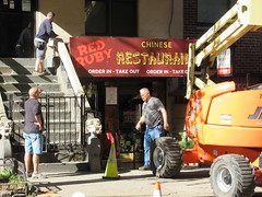 2019 Fake Chinese Food Restaurant for The Deuce 6779 (Brechtbug) Tags: 2019 fake red ruby chinese food restaurant hiding bar for 1970s tv show shoot filming 45th street midtown manhattan west restaurants new york city april spring springtime nyc 04242019 building exterior facade architecture eats foodstuffs cheap now open but flat paper surface possible location 1970 70 70s