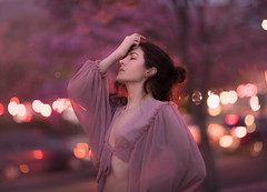 Electrified ({jessica drossin}) Tags: jessicadrossin portrait bokeh face purple pink mauve lights city trees blooms profile backlight wwwjessicadrossincom