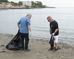 U.S. Ambassador to Djibouti takes part in an Earth Day beach cleanup.