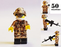**50 FOLLOWERS SPECIAL** (brickhistorian) Tags: military fig minifig minifigure history paint painted custom customs lego legos operations operation desert storm gulf war camo shield