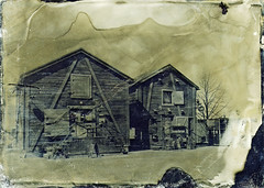 More barns (Sonofsono) Tags: oulu barn old ambrotype fkd finland black bw white varnish glass plate wet