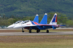 Russian Federation Air Force (Russian Knights 31) Sukhoi Su-30SM RF-81702 & Russian Federation Air Force (Russian Knights 35) Sukhoi Su-30SM RF-81706 (EK056) Tags: russian federation air force knights 31 sukhoi su30sm rf81702 35 rf81706 lima 19 langkawi international airport