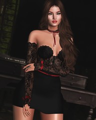 Black is always elegant. (desiredarkrose) Tags: deaddollz lyrium truth pose lacedress black korina lelutka glamaffair fashionblog elegant sexy slblog slfashion uber