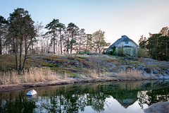 House on the Island (Mikael Neiberg) Tags: island oldhouse woodenhouse goldenhour sea calmsea reflection seashore shore sky nikond700 zeissdistagon35mmf2zf2 zeisslens carlzeiss